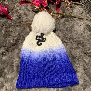 🆕 Ombré Knit Blue + White Pom Pom Beanie Hat